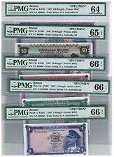 1967 BRUNEI Specimen Notes 1st Series $1 $5 $10 $50 $100, 5 pcs Complete set PMG