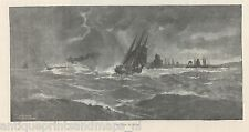 Antique  print Port Hope Southern Ontario, Canada storm  1889