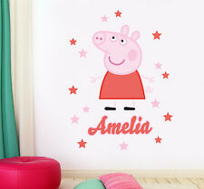 Peppa Pig Personalised Name Children's Wall Sticker Decal Vinyl Mural Art