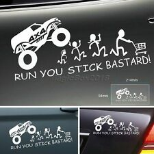 Fashion Funny Car Sticker RUN YOU STICK BASTARD Rear Window Bumper Wagon Decal