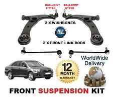 FOR TOYOTA AVENSIS 03  FR 2X WISHBONE ARMS + STABILISER LINK BARS SUSPENSION KIT