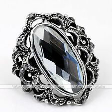 Tibetan Silver Plate Clear Crystal Glass Oval Faceted Adjustable Finger Ring US7