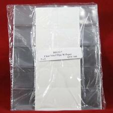 "(100) 2"" x 2"" Safe-T Double Pocket Vinyl Coin Flips with Paper Inserts"