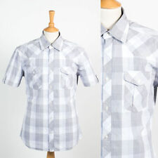 MENS TOM TAILOR BRAND GREY & LIGHT BLUE SHIRT PLAID CHECK SHORT SLEEVE M