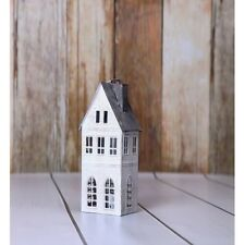 Grey roof metal dutch house lantern, tea light or candle holders, shabby chic