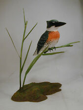 Green Kingfisher Original Wood Carving