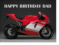 A4 DUCATI RED SPORTS BIKE EDIBLE ICING BIRTHDAY CAKE TOPPER