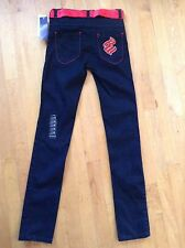 ROCAWEAR  Classic Girls Skinny Fit Black Jeans Size 16 With Red Ribbon Belt