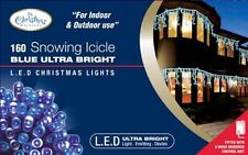 Benross The Christmas Lights 160 Snowing Icicle Ultra Bright LED Lights - Blue