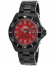 Invicta 23007 Men's Pro Diver Black Ion Plated Stainless Steel Red Dial