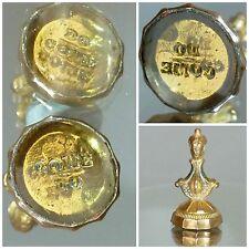 Victorian glass Intaglio Seal Fob - motto - Do Come