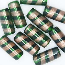 Glass Beads Green Gold Fancy Transparent Tube 22x10mm. Pack of 10. Made in India