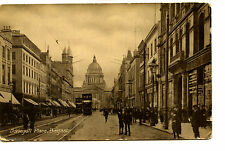 Street Scene-Trolley-Stores-Donegall Place-Belfast-Ireland-Vintage Postcard