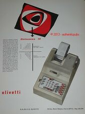 PUBLICITE ANCIENNE 1962 OLIVETTI MACHINE A CALCULER DIVISUMMA 14 ORIGINAL AD