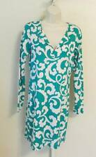 Diane von Furstenberg Reina Spiral ferns large green white tunic dress 8 DVF New