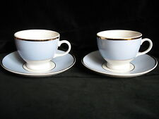 Royal Doulton Blue White Gold Pair of Cups Saucers Bruce Oldfield Design - MINT!
