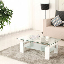 Tempered Glass Coffee Table High Gloss Chrome Legs Under Shelf White Living Room
