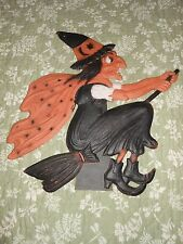 old Vintage Halloween embossed Witch Paper Mache Die Cut stand up.  20's 30'