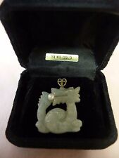 LOVELY VINTAGE? CHINESE JADE DRAGON & PEARL PENDANT w/14K GOLD BALE