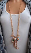 Damen Hals NEU Kette lang Modeschmuck rose-goldfarben Anhänger Feder Bettelkette