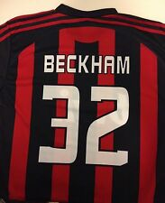 David Beckham AC Milan Soccer Jersey Bwin 32 Stripe Black Red Size Small Shirt