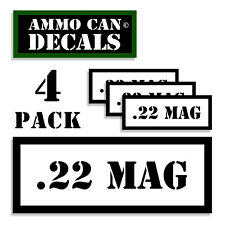 """22 MAG Ammo Can 4x Labels for Ammunition Case 3"""" x 1.15"""" sticker decal 4 pack WT"""