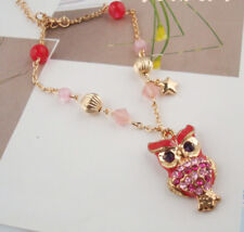 Fashion Pink Rhinestone Beads Enamel Gold Owl Pendant Necklace