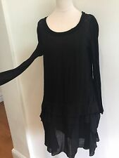 Chloe Black Wool Silk Dress Fr38