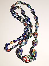 ART DECO VENETIAN MURANO MILLEFIORI GLASS BEADS NECKLACE.