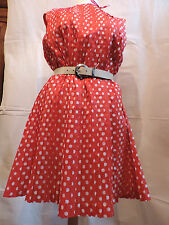 PUR VINTAGE 60  ROBE NYLON A PLIS  ROUGE A POIS  /38/40 / 42RED PEAS DRESS