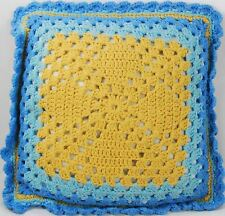 Vintage Retro Crochet Square Throw Bed or Couch Pillow - Gold & Blue