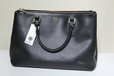 New Tory Burch Black Leather Robinson Double Zip Tote Shoulder Handbag Purse Bag