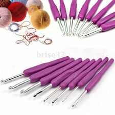 Soft Handle Needles Knit Weave Craft Yarn Aluminum Crochet Hooks 8PCS Set