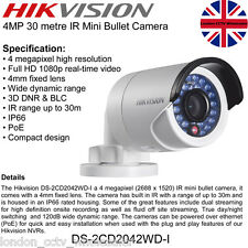 HIKVISION 4MP 4MM 1080P POE ONVIF WDR Network IP Camera DS-2CD2042WD-I UK Seller