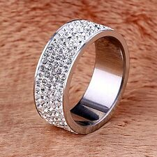 New men's/women's wedding band size 8 stainless steel cubic zirconia around ring