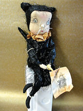 JOE SPENCER FOLK ART PRIMITIVE *ADELINE CAT GIRL* 70896 HALLOWEEN DOLL BRAND NEW