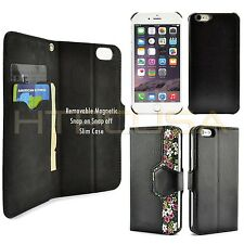 For Apple iPhone 6 Plus Black Floral Detachable Magnetic Wallet Case 5 pcs Lot
