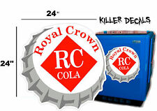 "24""  RC ROYAL CROWN COLA BOTTLE CAP DECAL COOLERS SODA POP MACHINE SIGN STYLE 1"