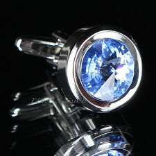 Sky Blue Crystal Stone Wedding Cufflinks - Mens Fashionable Cuff-Cufflink UK