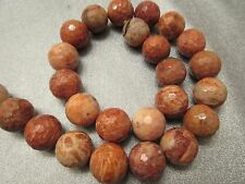 Indonesian Fossilized Red Coral Petoskey Stone 16mm Faceted Round Beads 25pcs
