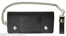Leather Motorcycle Trucker Biker Chain Wallet With Inside Zipper Black Eagle!!!