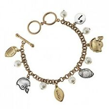 Gold and Silver Faux Pearl Football Charm FASHION Bracelet