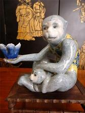 Large Vintage Chinese Porcelain Candle Holder/Statue Monky with Baby & Lutos