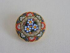 Mosaic Brooch Pin Made in Italy Italian Flower Floral Circle Womens Jewelry 1.5""