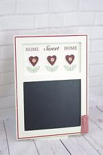 Shabby Chic Home Sweet Home Memo Chalkboard Chalk Pocket Red & Cream  F0695