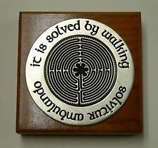 "USA-Made Square Wood/Pewter Paperweight w/ Labyrinth ""It is Solved by Walking"""