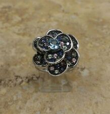 """STERLING 1.50 CT ICE MULTI-COLOR SAPPHIRE """"FLOWER"""" SILVER RING SIZE 7 QVC"""