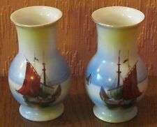 Japanese Mirror Pair of Small Hand-painted Noritake Vases with Traditional Boats