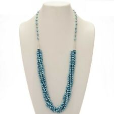 Native American Blue Freshwater Pearl Necklace Five Strands