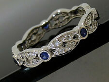 R133- Solid 9ct White GOLD Natural Sapphire Diamond Full Eternity Ring size N